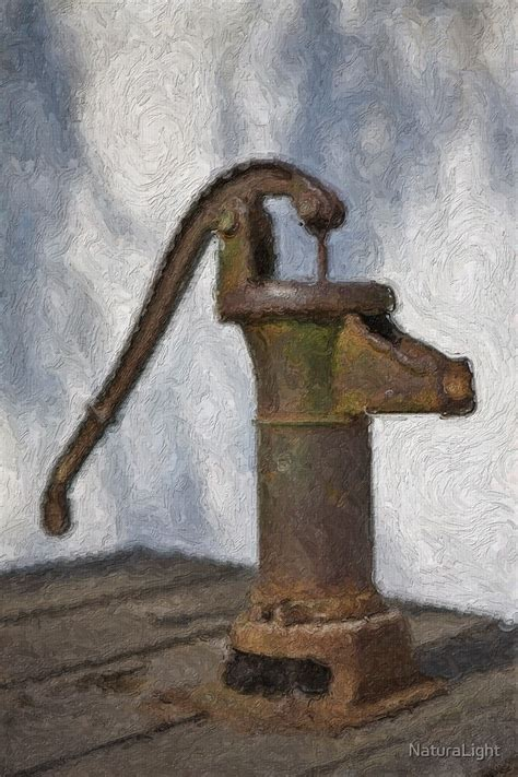 """""""Stylized photo of a hand water pump at a horse trough in"""