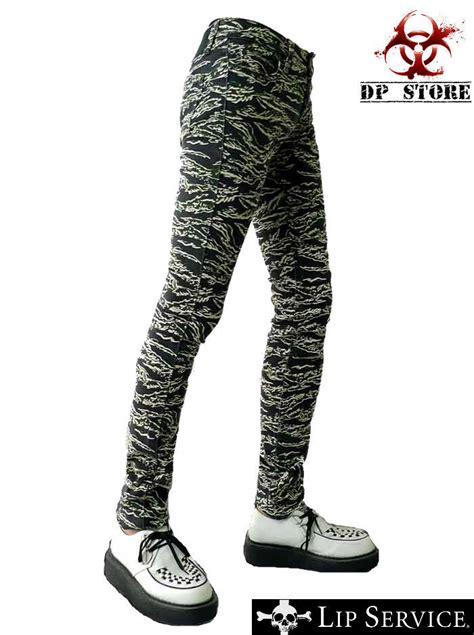LIP SERVICE CAMO CAMOUFLAGE PUNK JEANS SKINNY GOTHIC