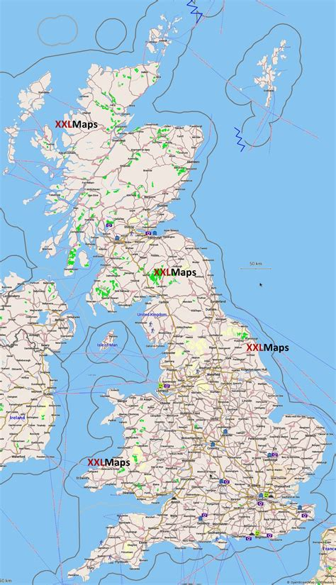 Tourist map of United Kingdom - free download for