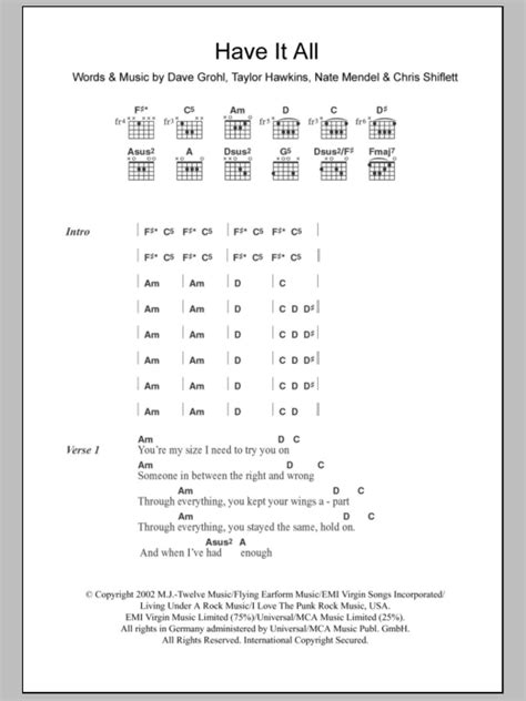 Have It All by Foo Fighters - Guitar Chords/Lyrics