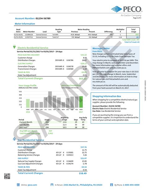 Sample Home Electric and Gas Bill | PECO - An Exelon Company
