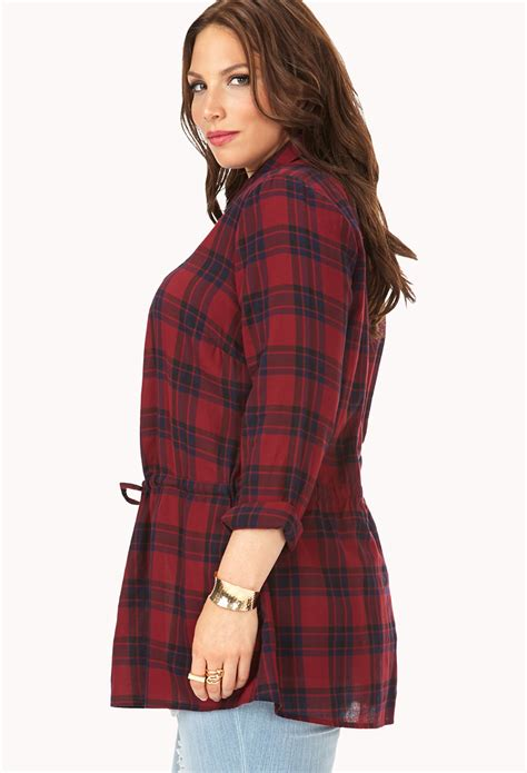 Lyst - Forever 21 Prairie Plaid Longline Shirt in Red