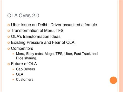 Ola cabs – riding on high