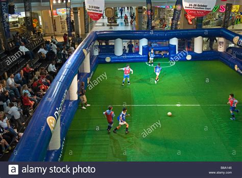 Boys playing in an indoor soccer competition at Canal Walk