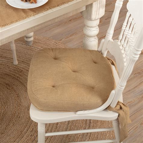 Burlap Natural Chair Pad by April & Olive - VHC Brands