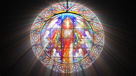Stained Glass Jesus with Light Stock Footage Video (100%